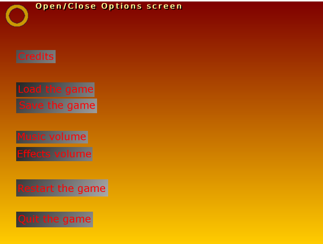 Options screen