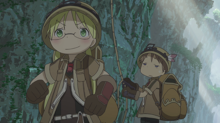 Made in Abyss characters exploring