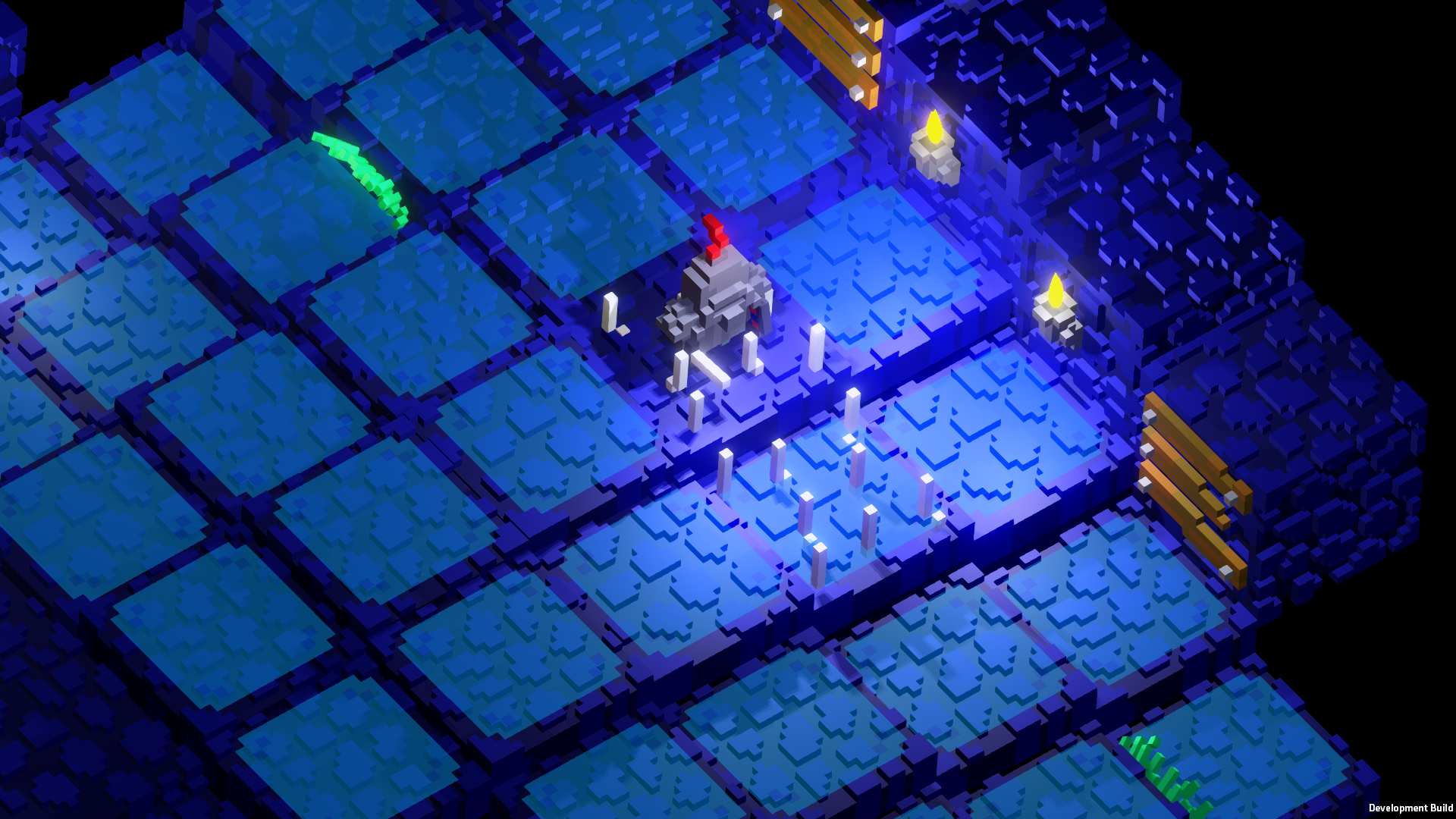 Voxel knight standing on small underground hill