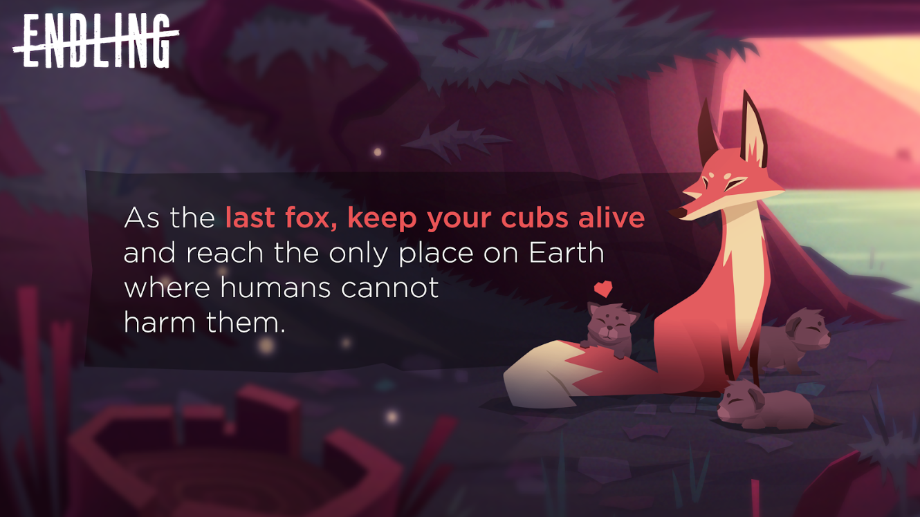 As the last fox, keep your cubs alive and reach the only place on Earth where humans cannot harm them