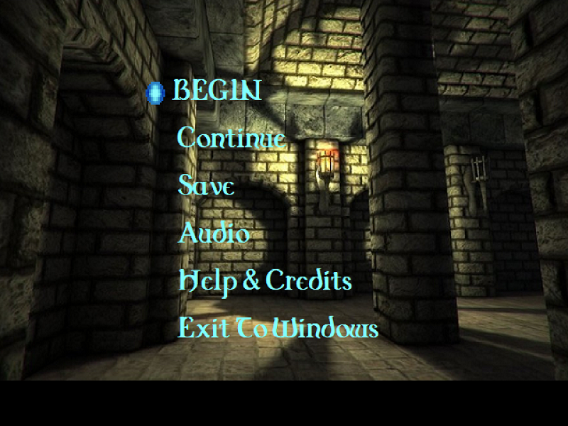 Capture of the text-based Menu Screen.