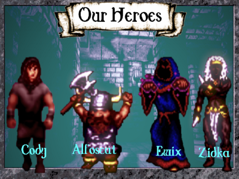 Four Fantasy Heroes with Names: Cody, Alfoseat, Ewix and Zidka.