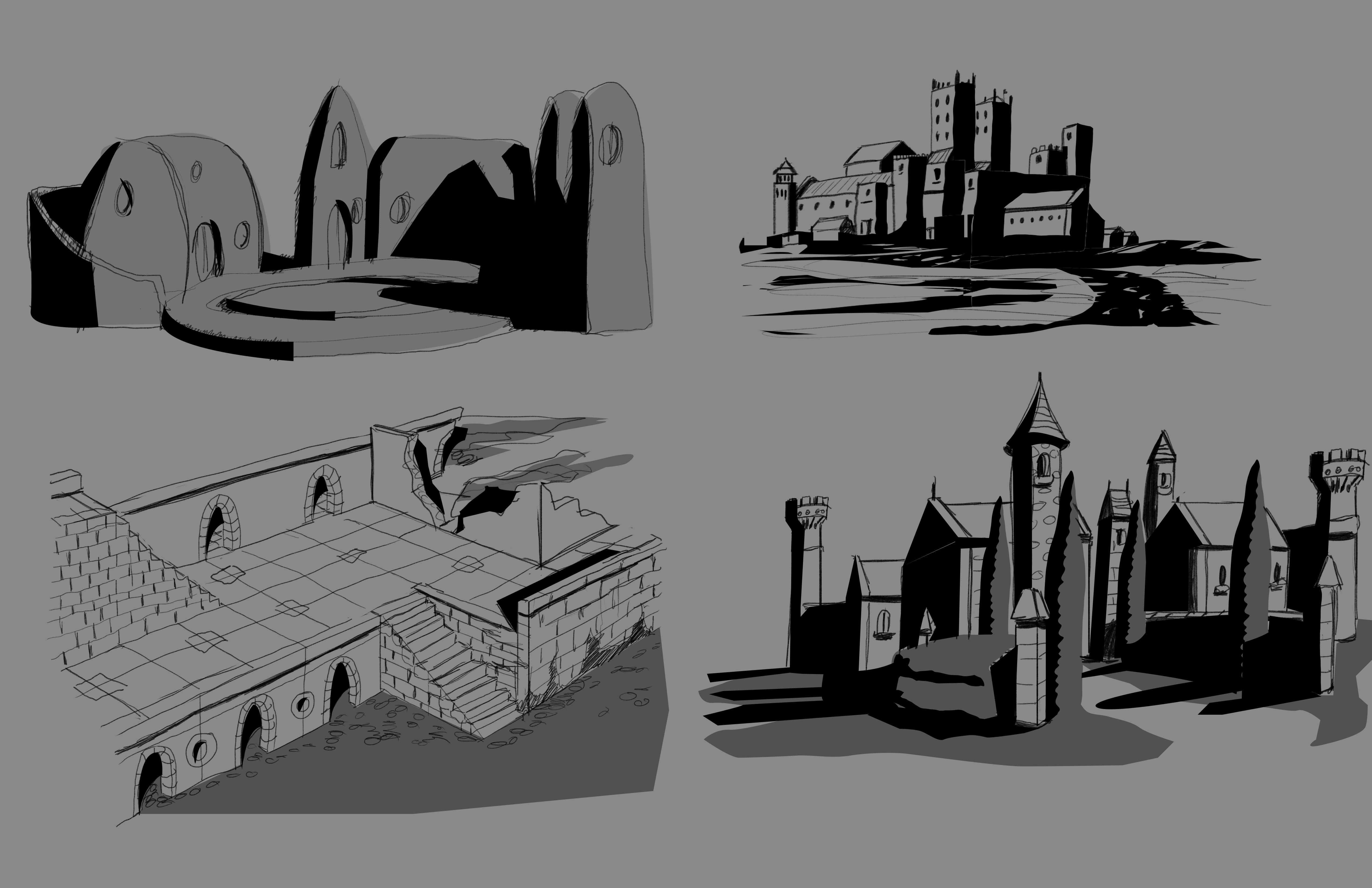 This is a graphic page exploring locations while designing the game.