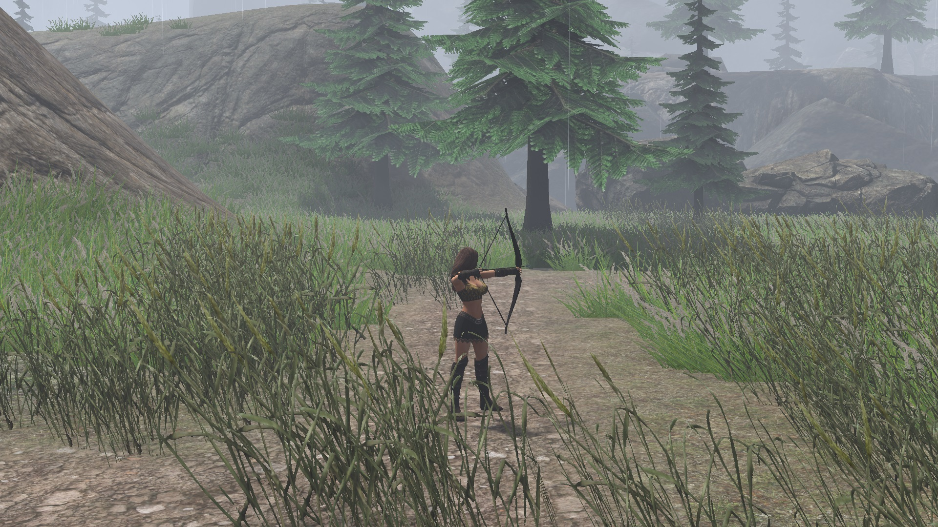 Working bow in game. Player finds it at the very beginning of level
