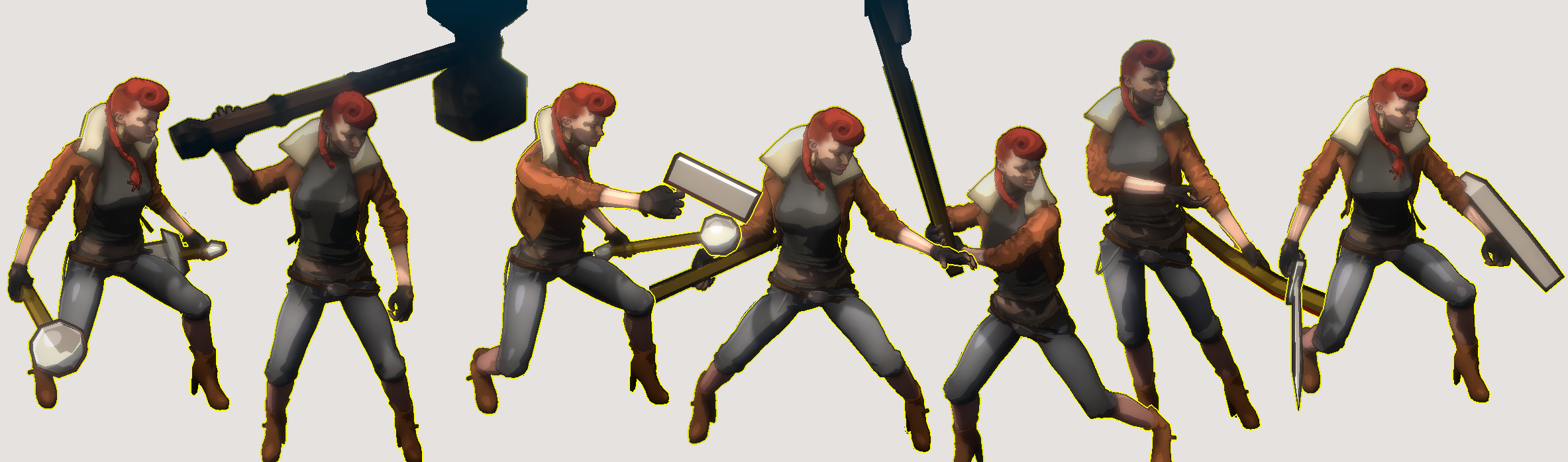 all weapon poses main character