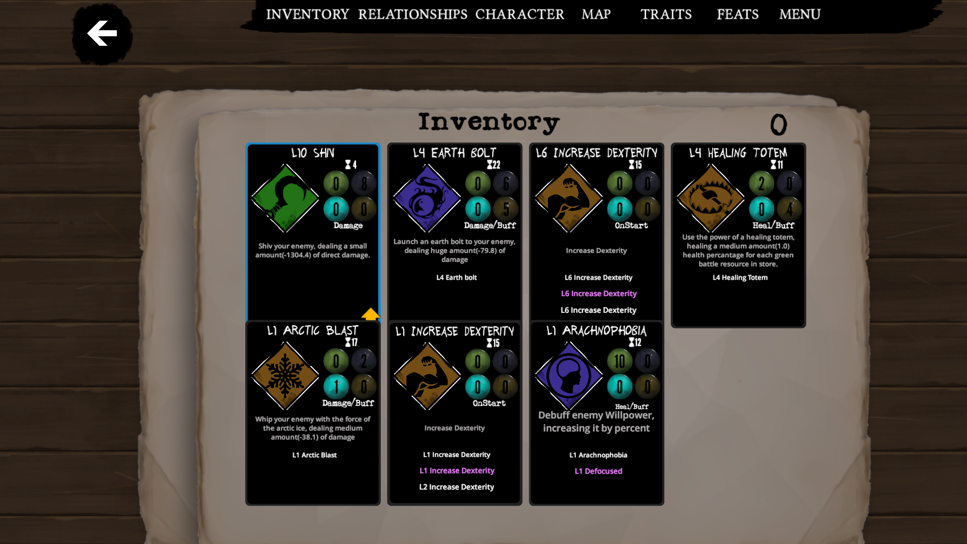 Ability inventory