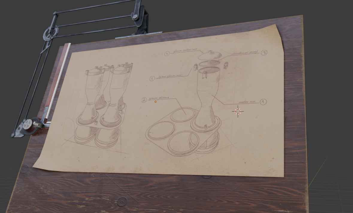 Blueprint placed on a drafting table