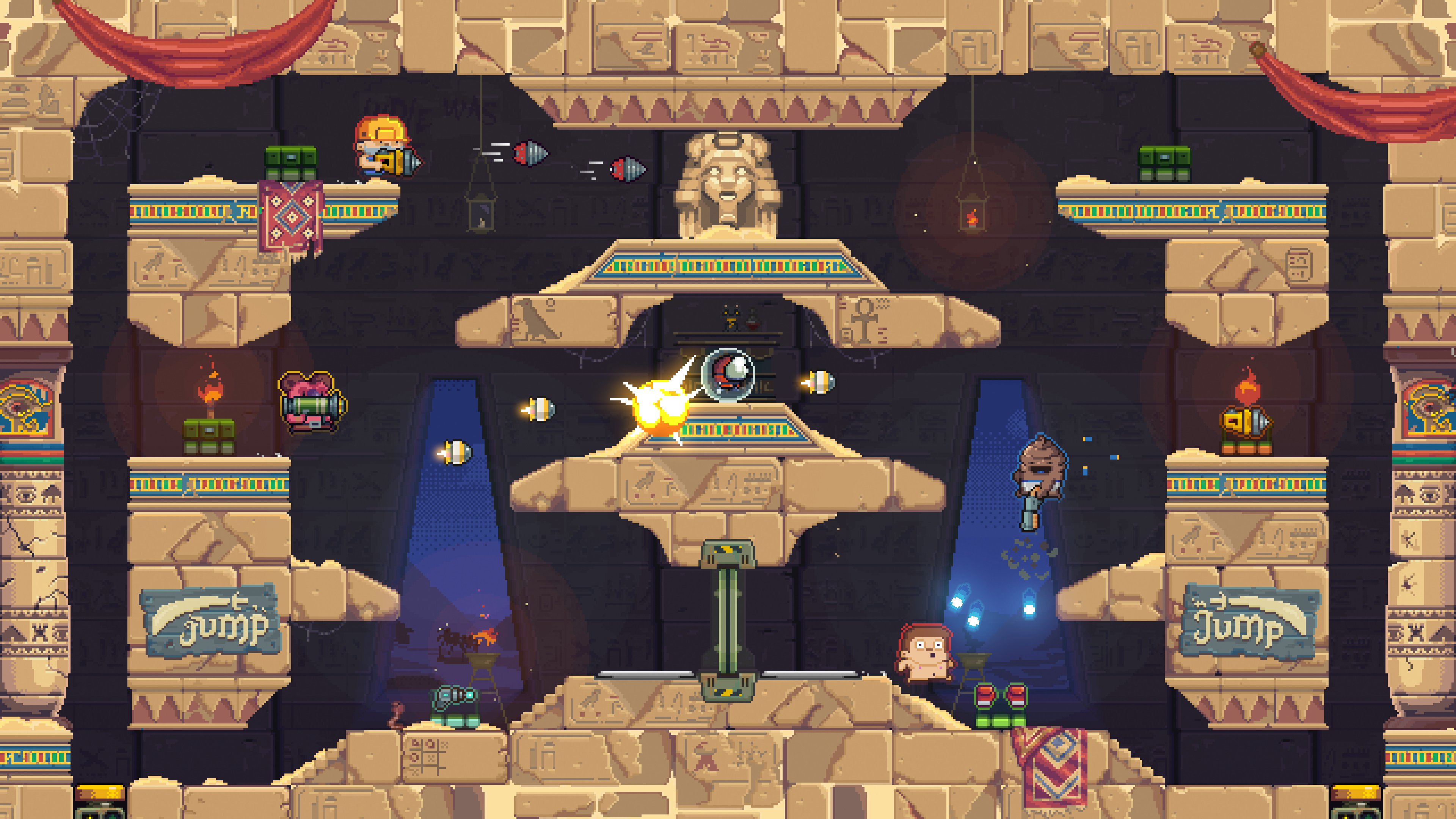 Game action in the Sun Temple stage