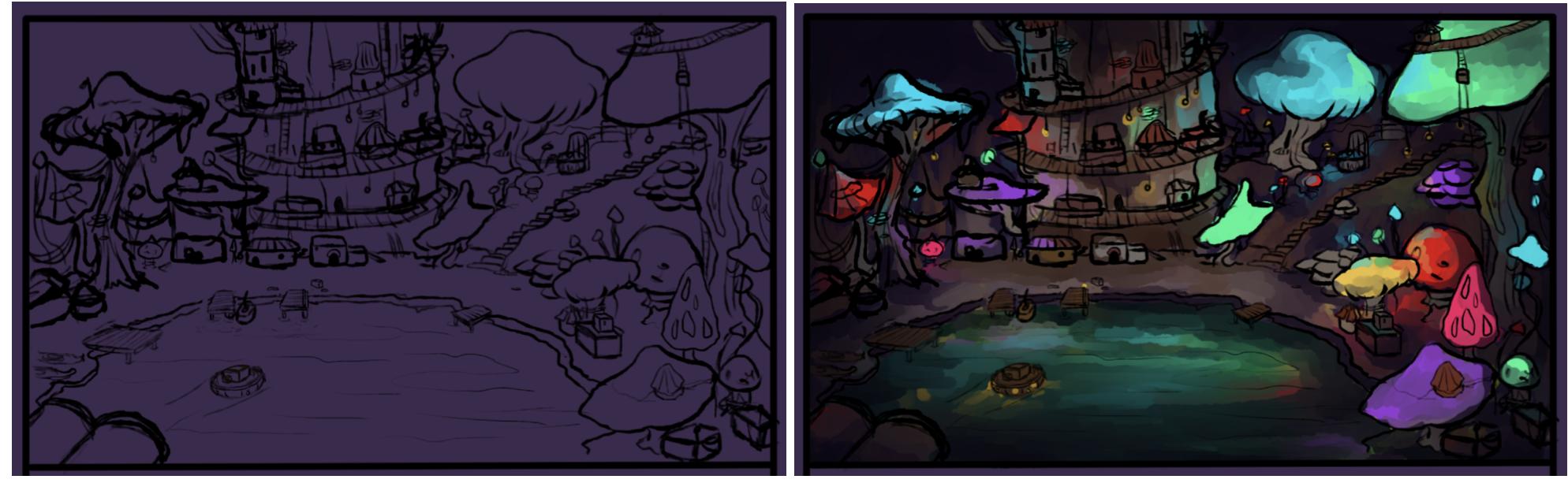 Shroomgarden sketch vs coloured