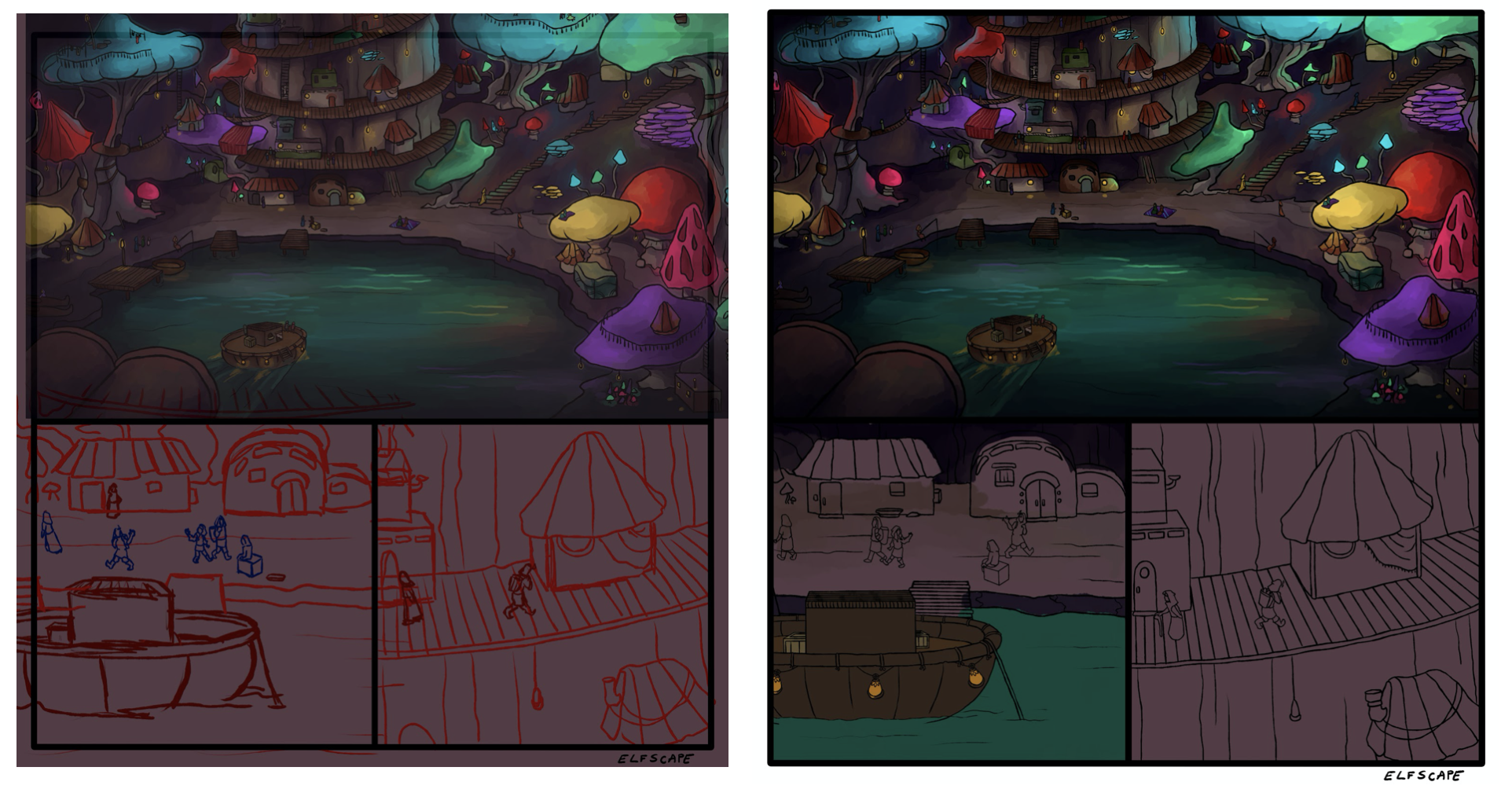 Process of changing the sketch to final picture