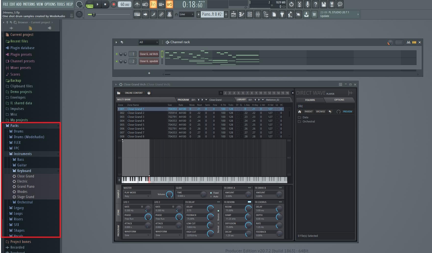 Direct wave sampler package in FL studio