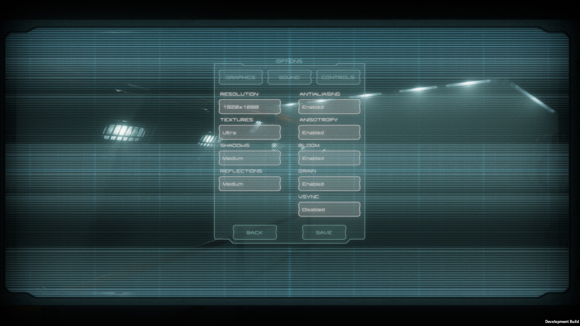 A screenshot of the options menu