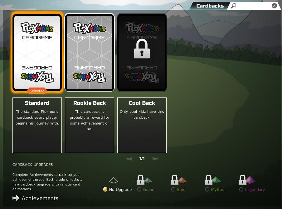 cardbacks UI