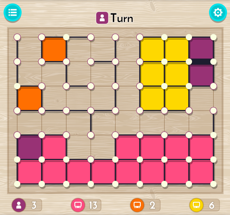 dots and boxes gameplay