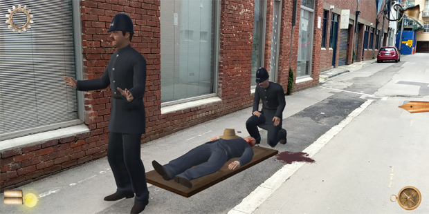 Exploring the actual crime scene in augmented reality.
