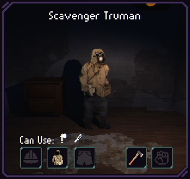 Scavengers start with axe, but can also use knife.