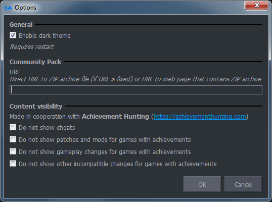 options - dark theme