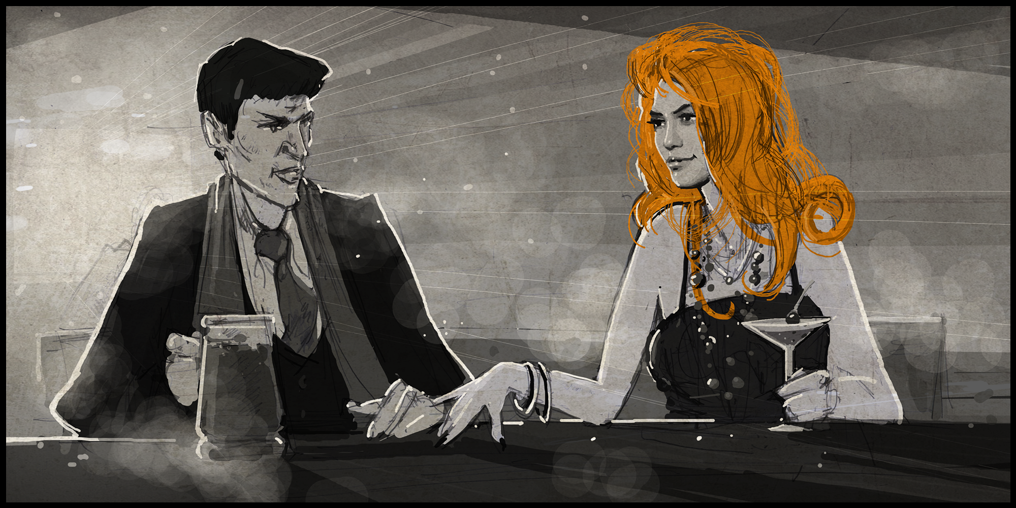 Frank and lady in the bar