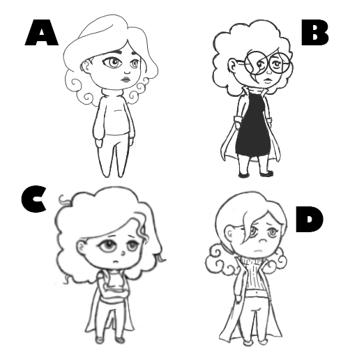 Some of the sketches made for Maia's design