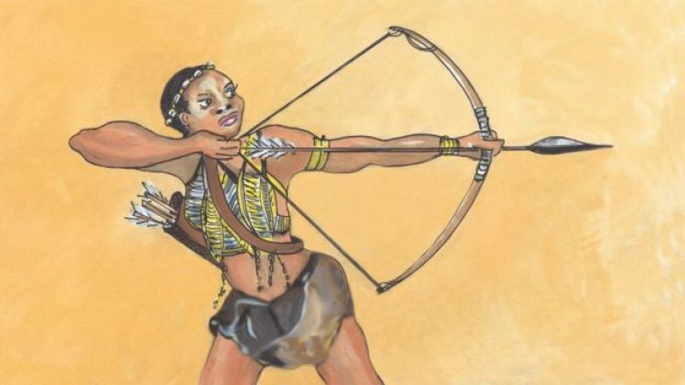 Njinga getting ready to strike a blow with the arrow