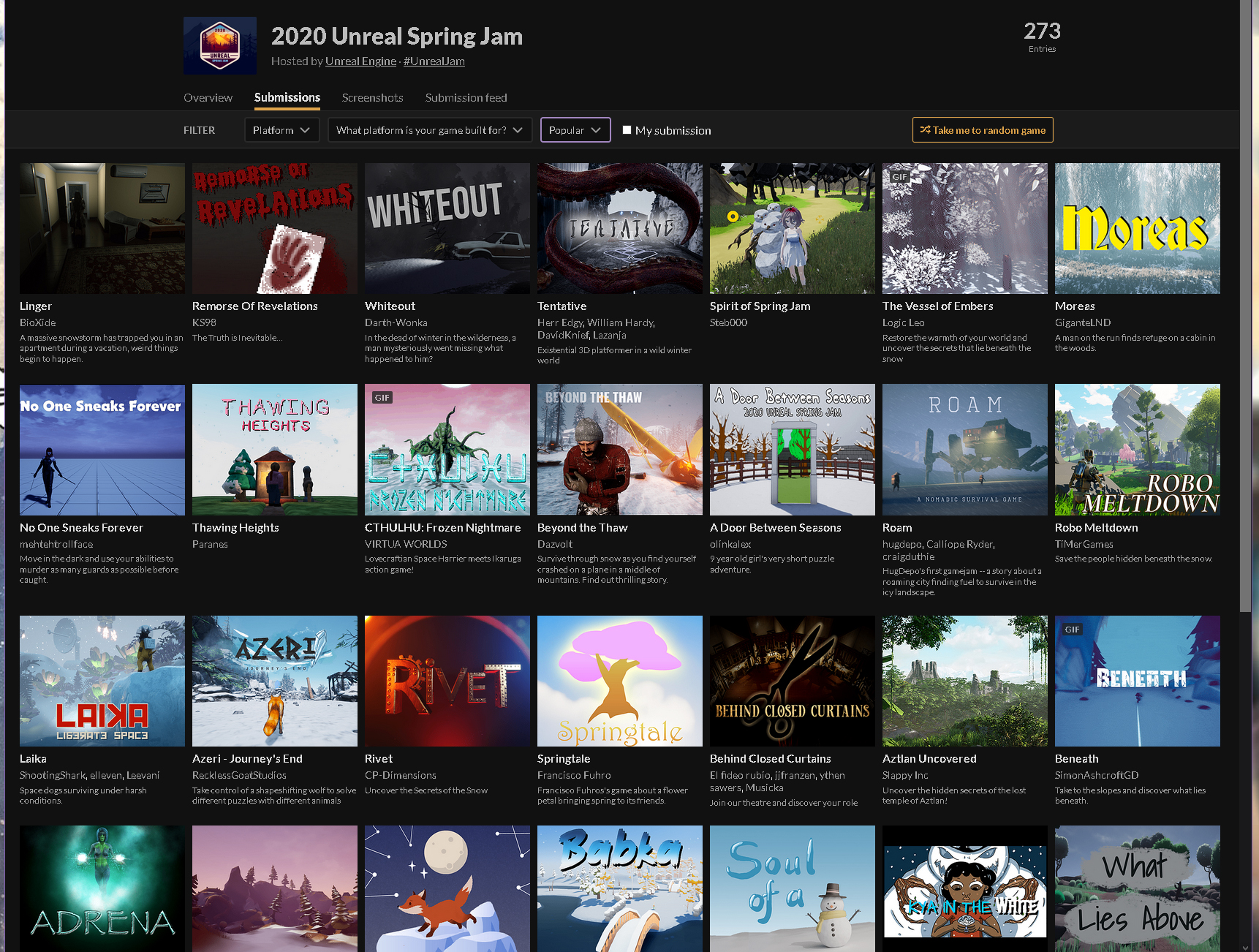 CTHULHU: Frozen Nightmare, Top 10 Popular on Unreal Spring Jam
