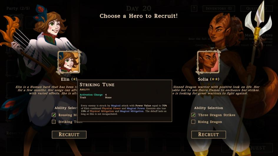 Character selection screen with one the left Elin, a female bard with a stringed instrument and on the right Solia, a demonic woman with a trident. Both are dressed in white.