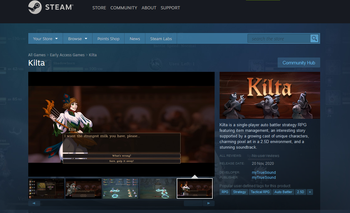 Screenshot of Kilta's Steam Store Page