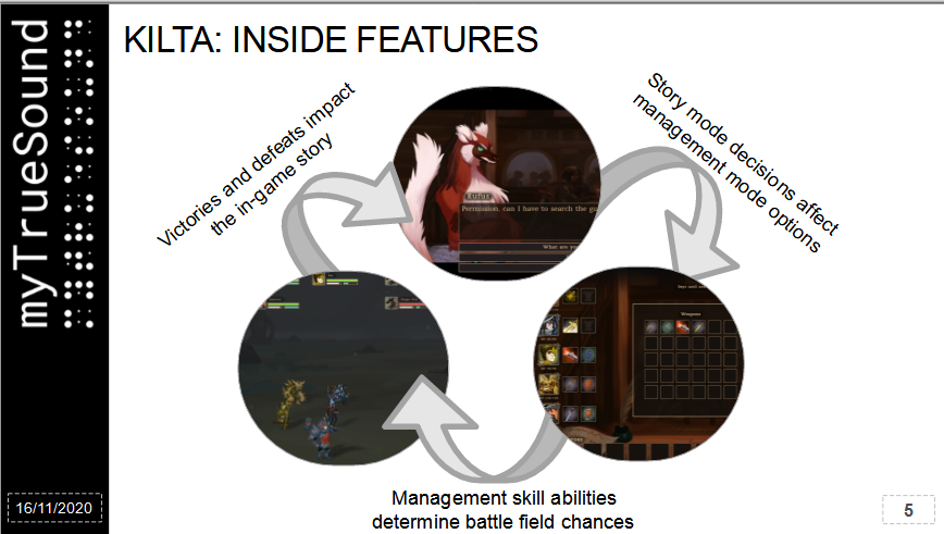 Screenshot of Kilta's pitchdeck, showing the relation between different gameplay elements.