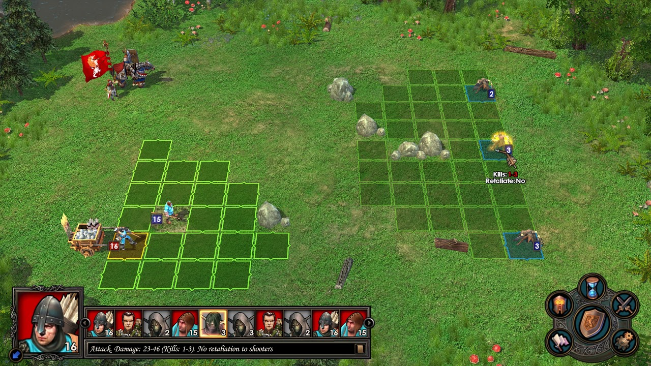 Tactical battles in Heroes V take place on a grid and follow well defined rules.