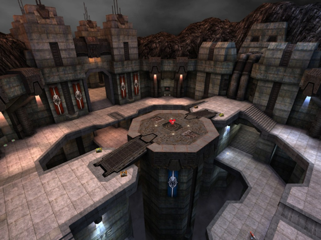 Here, Quake 3's Circle of Death map shows the type of layout that would allow for fast, reactive movement where the player can, and must, use their enhanced movement capabilities to navigate and do combat in.