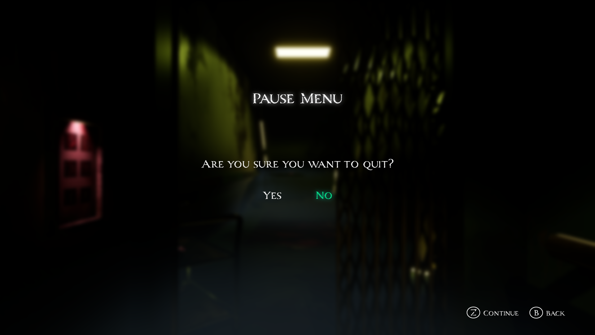 Pause Menu   Are you sure
