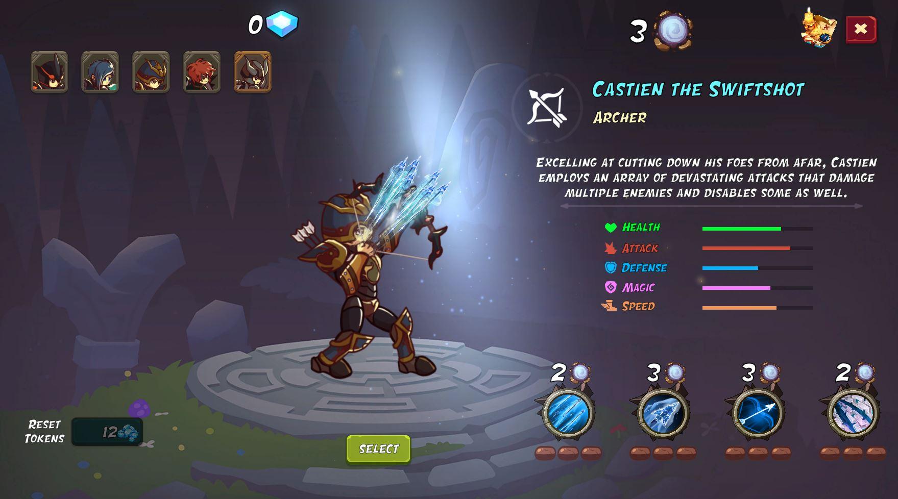 Castien Guardian menu