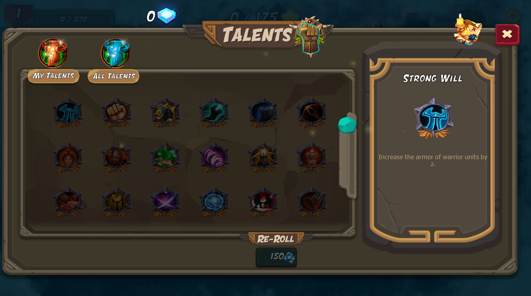 talents menu